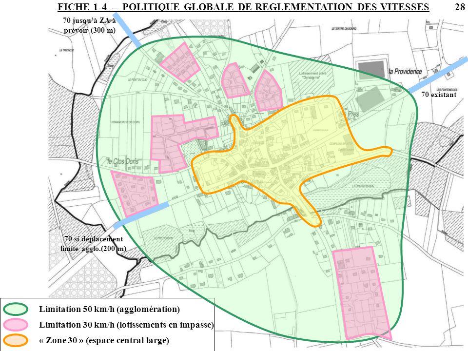 FICHE 1-4 – POLITIQUE GLOBALE DE REGLEMENTATION DES VITESSES