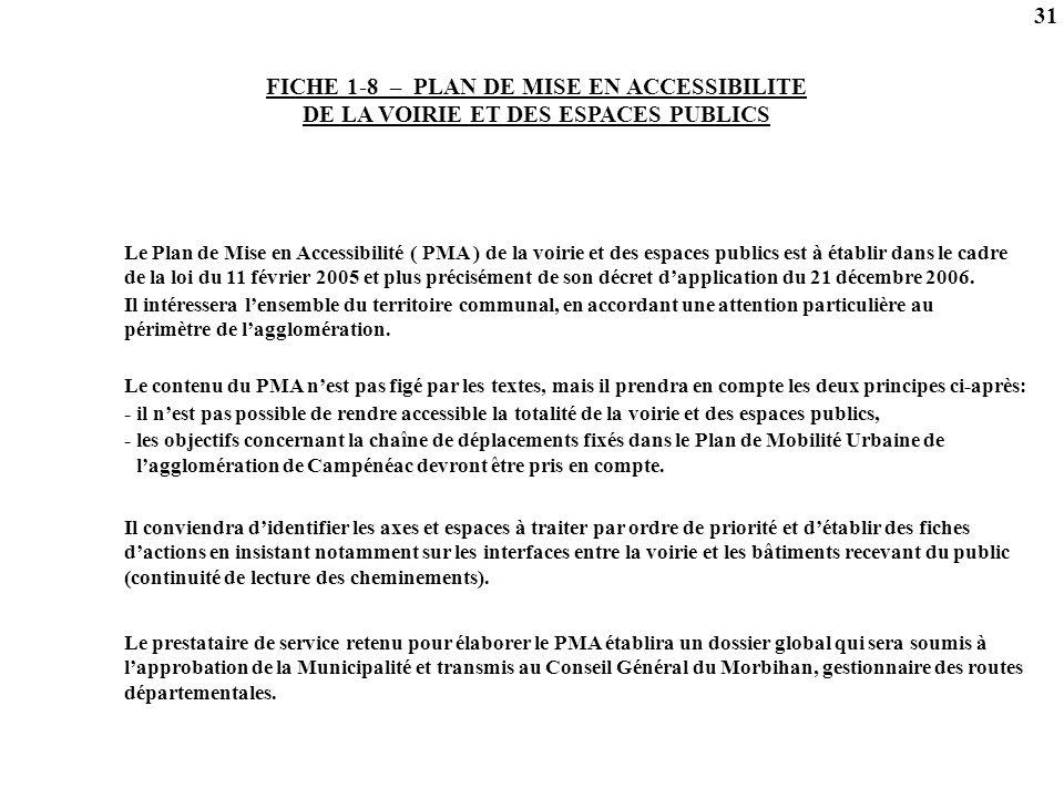 31 FICHE 1-8 – PLAN DE MISE EN ACCESSIBILITE DE LA VOIRIE ET DES ESPACES PUBLICS.