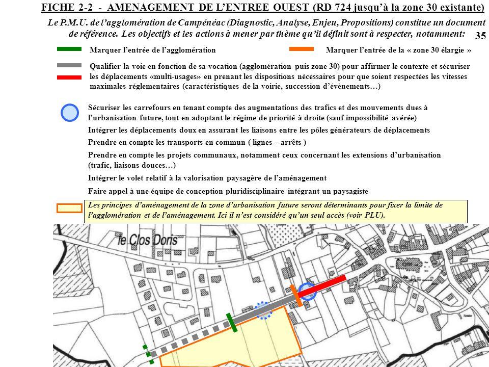 FICHE 2-2 - AMENAGEMENT DE L'ENTREE OUEST (RD 724 jusqu'à la zone 30 existante)