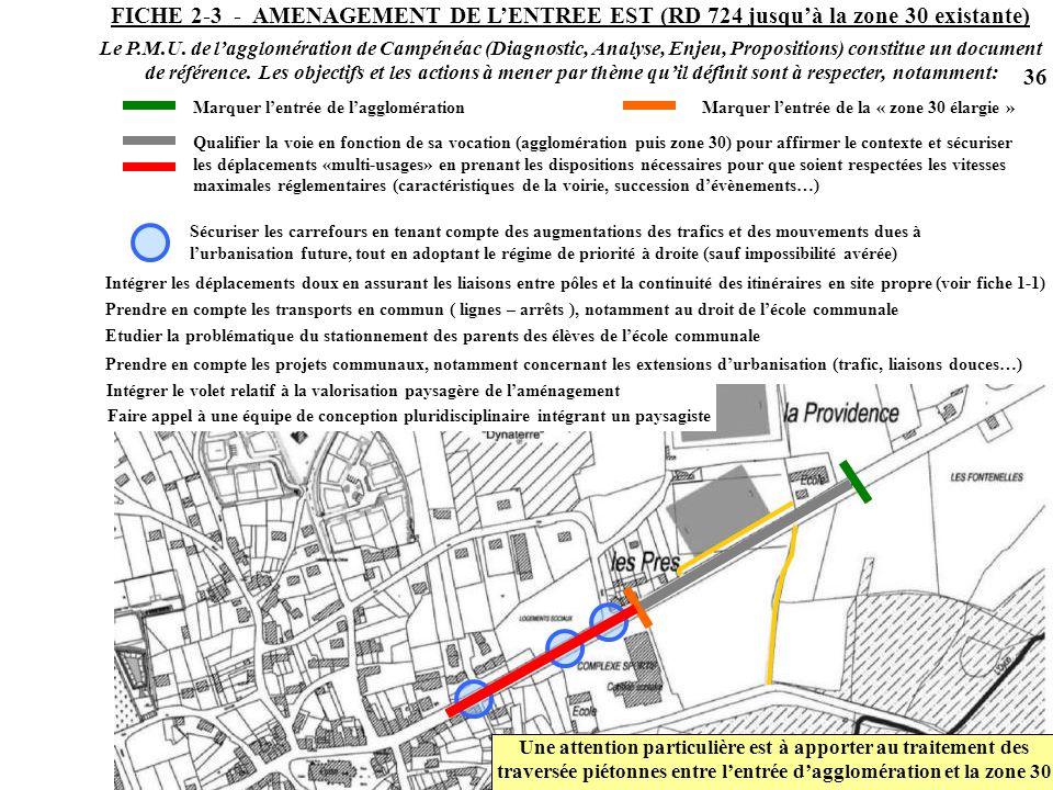 FICHE 2-3 - AMENAGEMENT DE L'ENTREE EST (RD 724 jusqu'à la zone 30 existante)