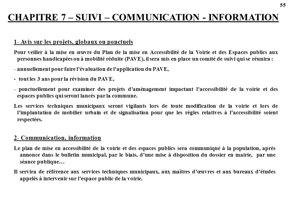 CHAPITRE 7 – SUIVI – COMMUNICATION - INFORMATION