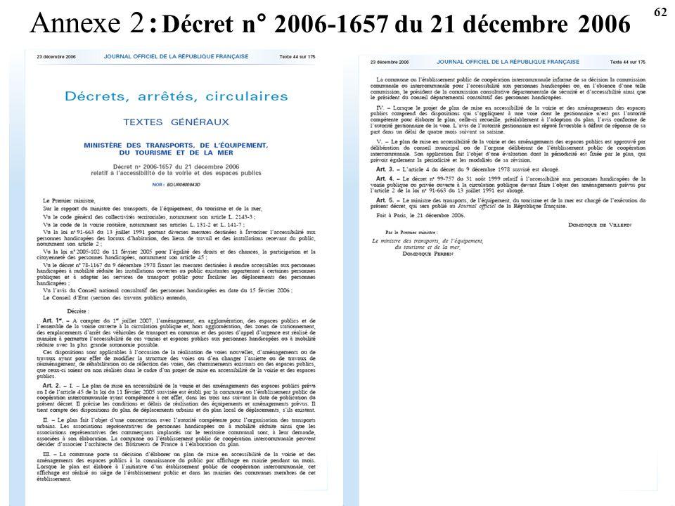 Annexe 2 : Décret n° 2006-1657 du 21 décembre 2006