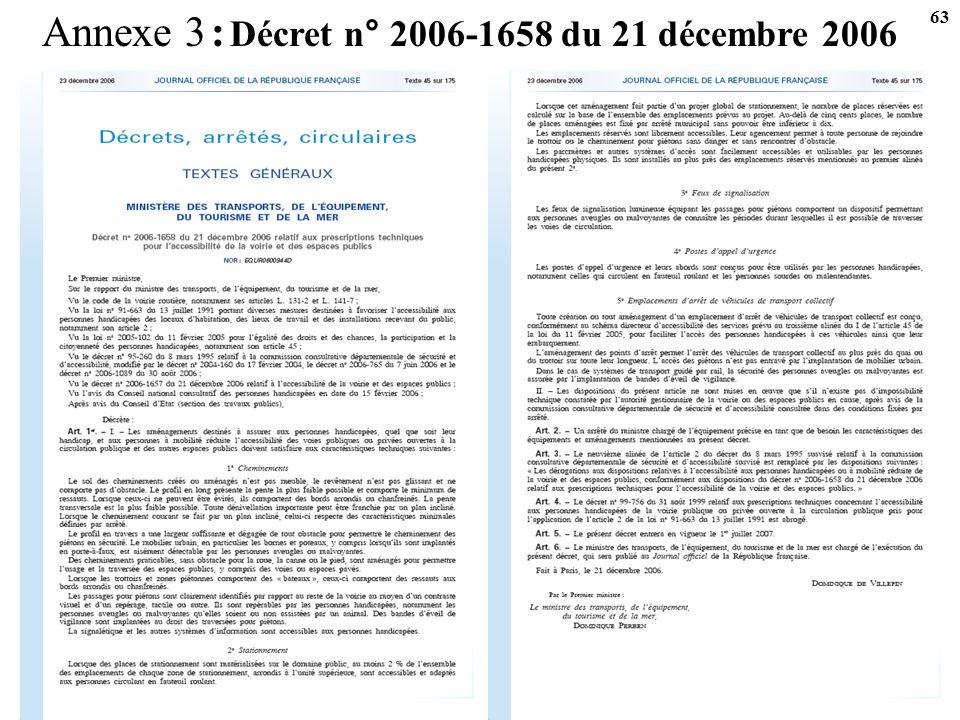 Annexe 3 : Décret n° 2006-1658 du 21 décembre 2006