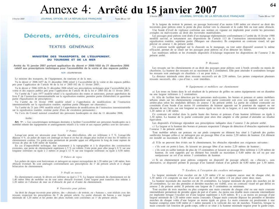 Annexe 4: Arrêté du 15 janvier 2007