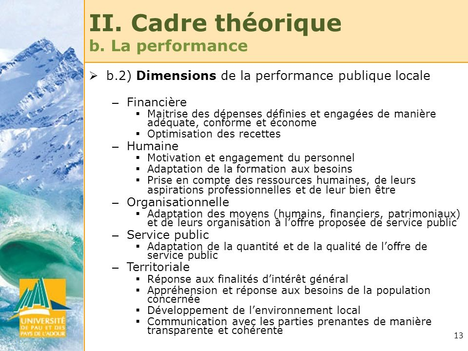 II. Cadre théorique b. La performance
