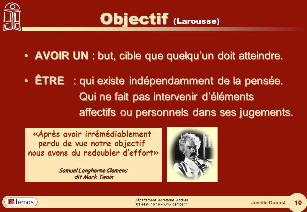 Objectif (Larousse) AVOIR UN : but, cible que quelqu'un doit atteindre. ÊTRE : qui existe indépendamment de la pensée.