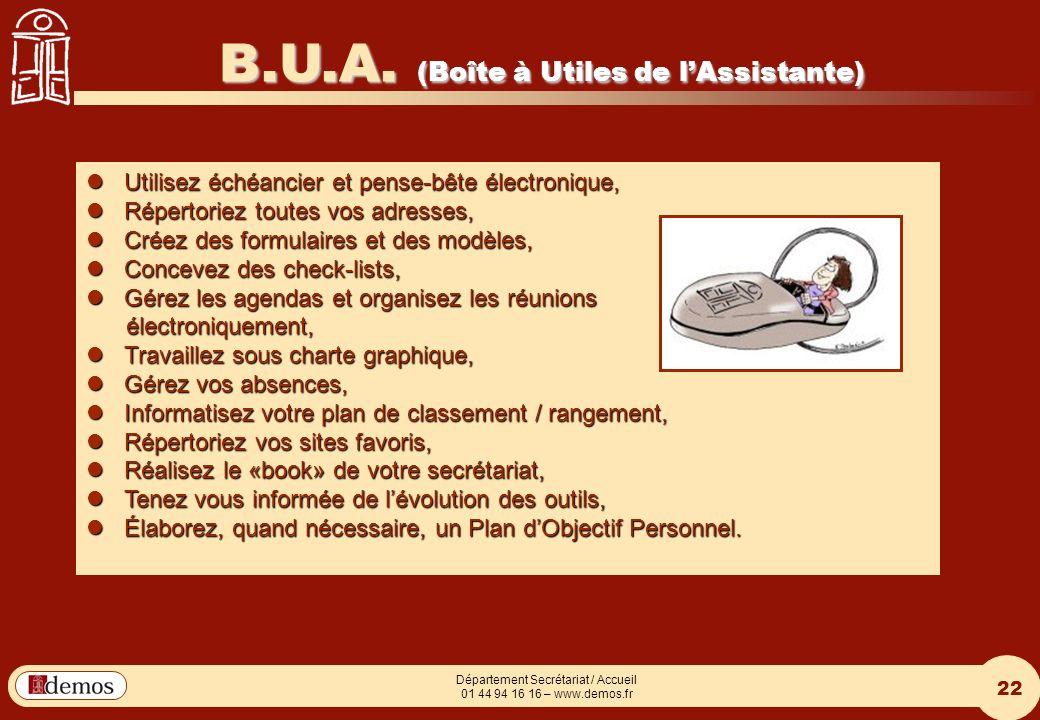 B.U.A. (Boîte à Utiles de l'Assistante)