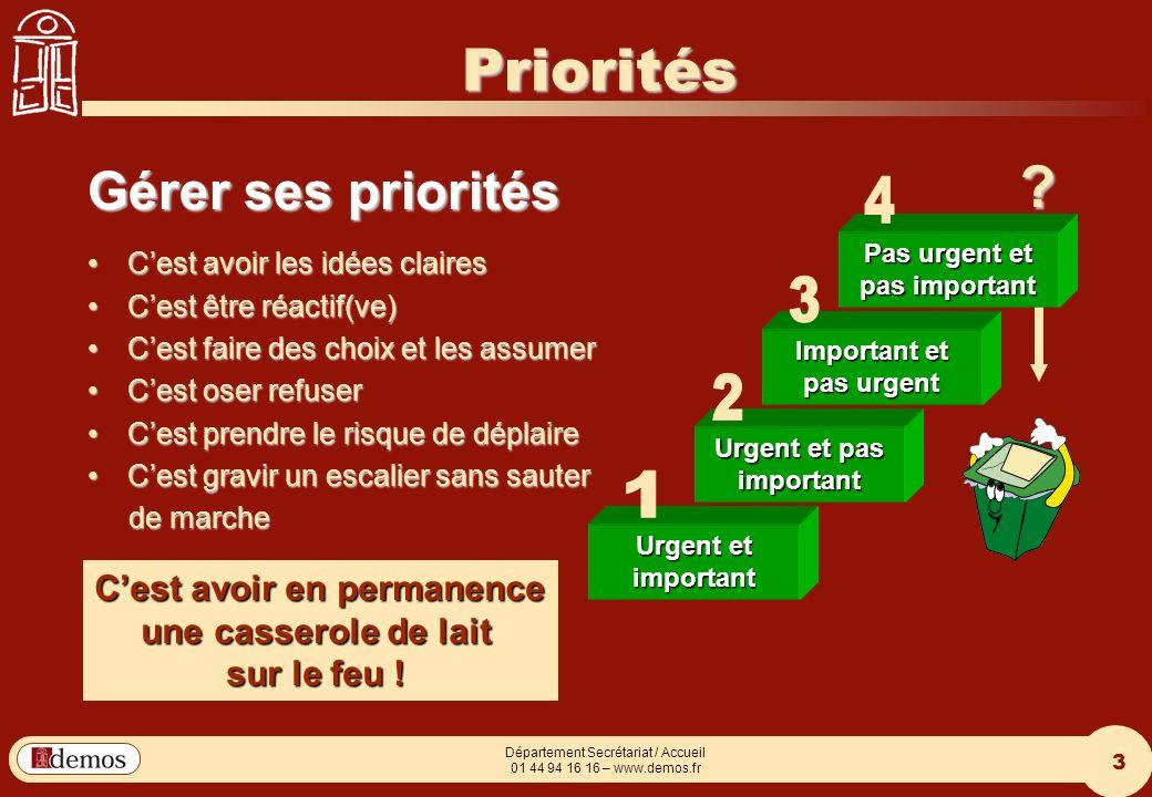 Priorités Gérer ses priorités 4 3 2 1 C'est avoir en permanence