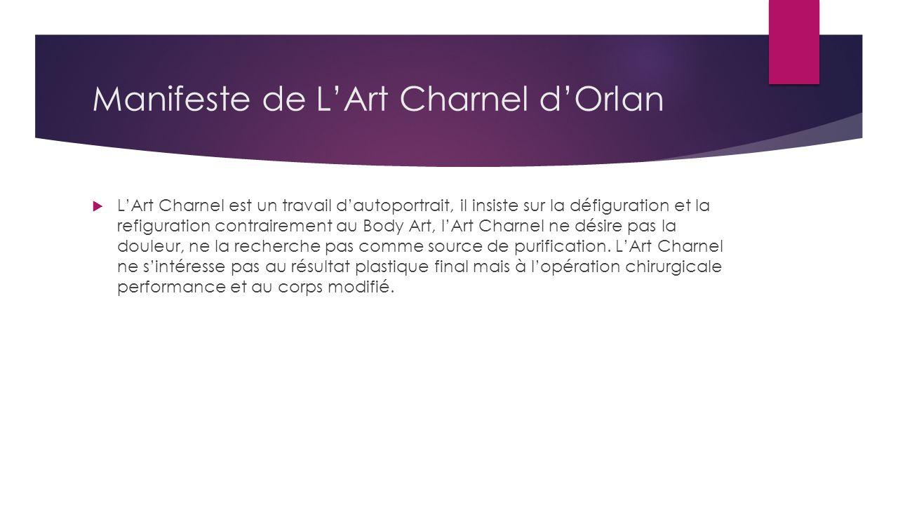 Manifeste de L'Art Charnel d'Orlan