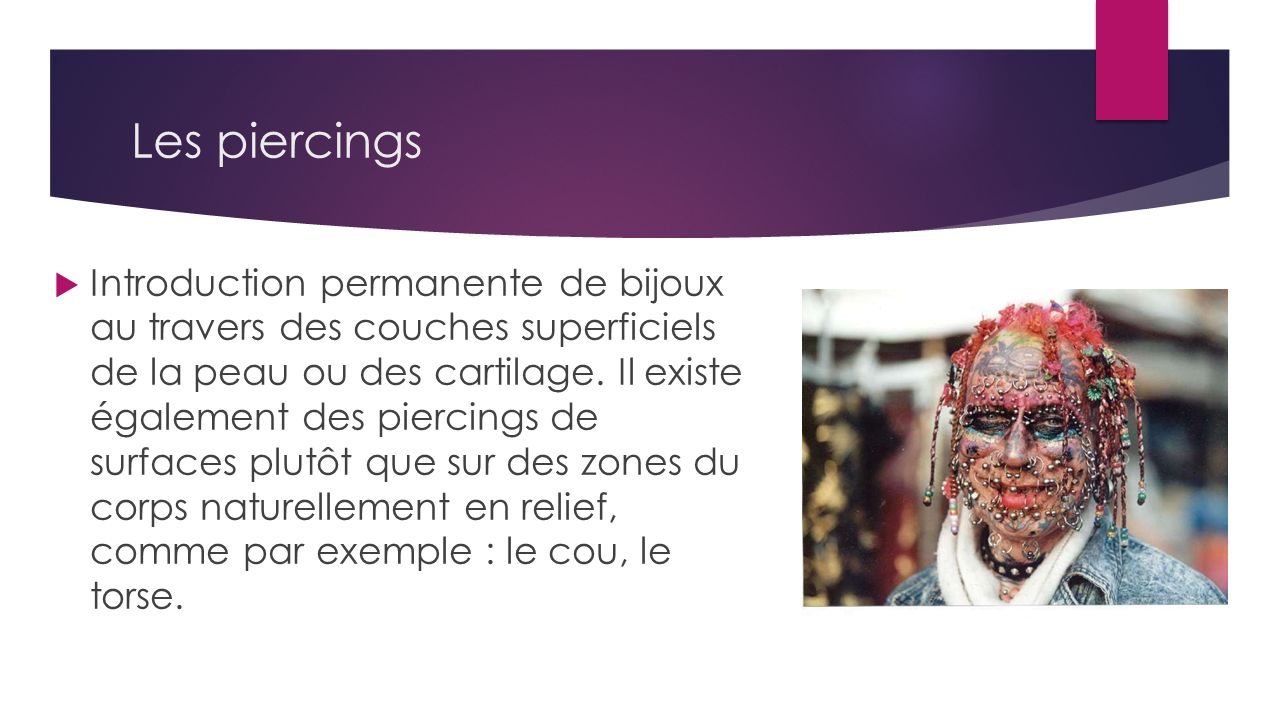 Les piercings