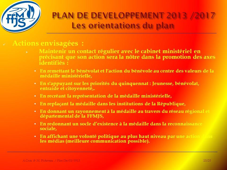 PLAN DE DEVELOPPEMENT 2013 /2017 Les orientations du plan