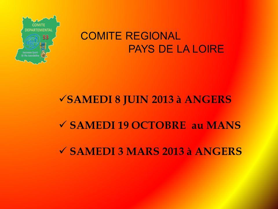 COMITE REGIONAL PAYS DE LA LOIRE. SAMEDI 8 JUIN 2013 à ANGERS.