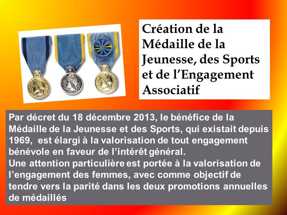 Création de la Médaille de la Jeunesse, des Sports et de l'Engagement Associatif