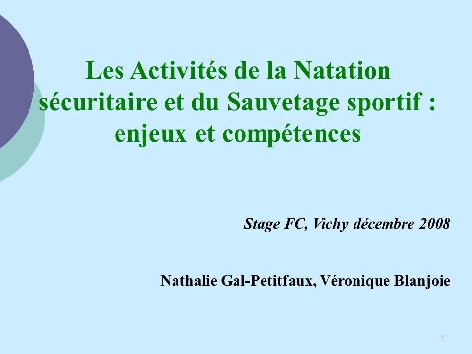 Les Activités de la Natation sécuritaire et du Sauvetage sportif : enjeux et compétences