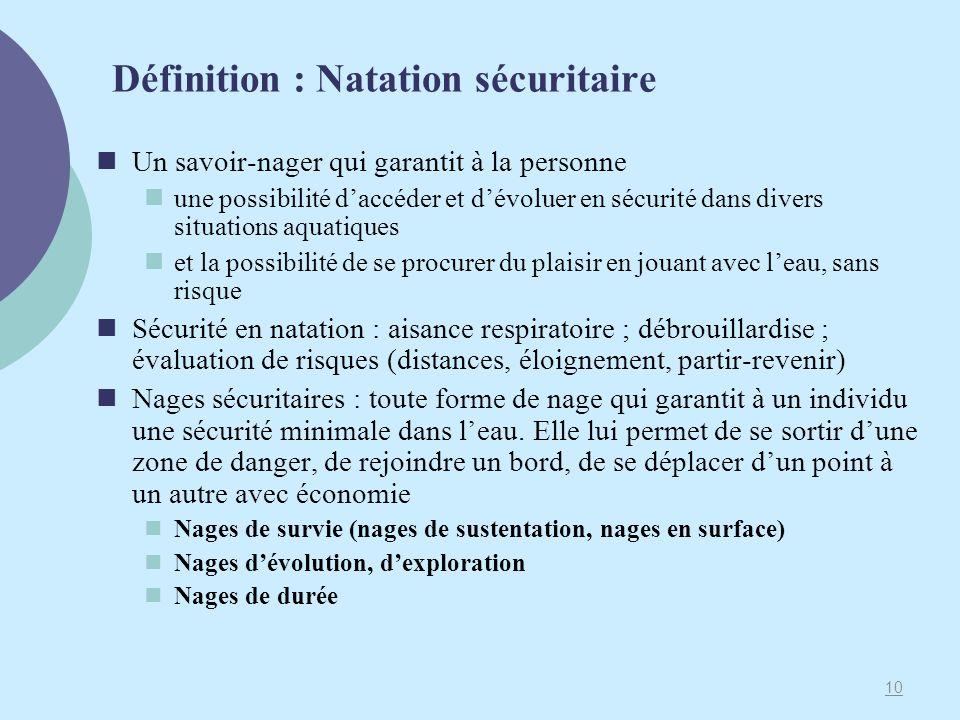 Définition : Natation sécuritaire