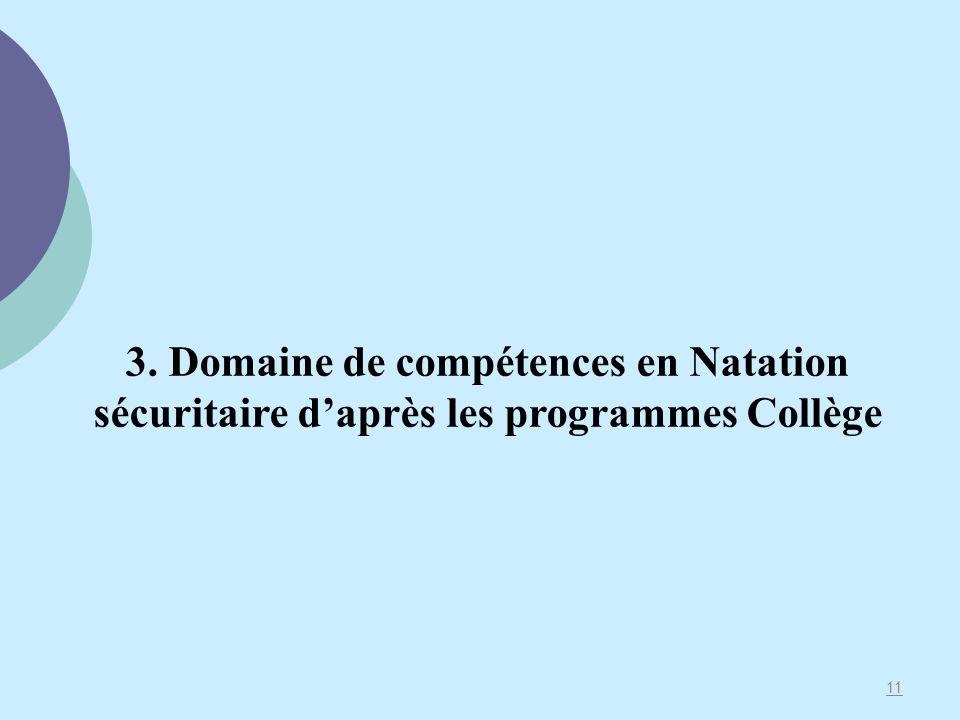 3. Domaine de compétences en Natation sécuritaire d'après les programmes Collège