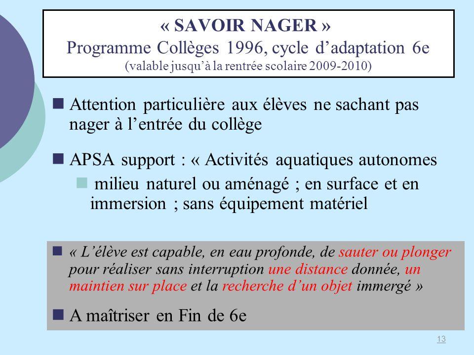 APSA support : « Activités aquatiques autonomes