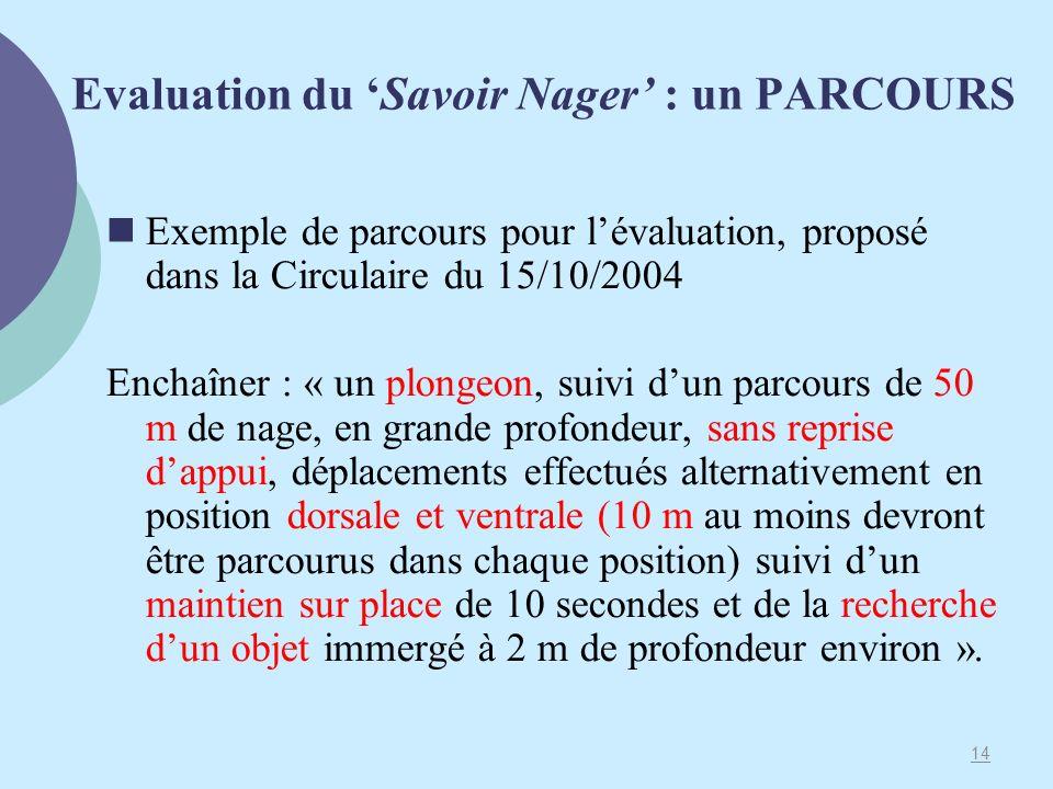 Evaluation du 'Savoir Nager' : un PARCOURS