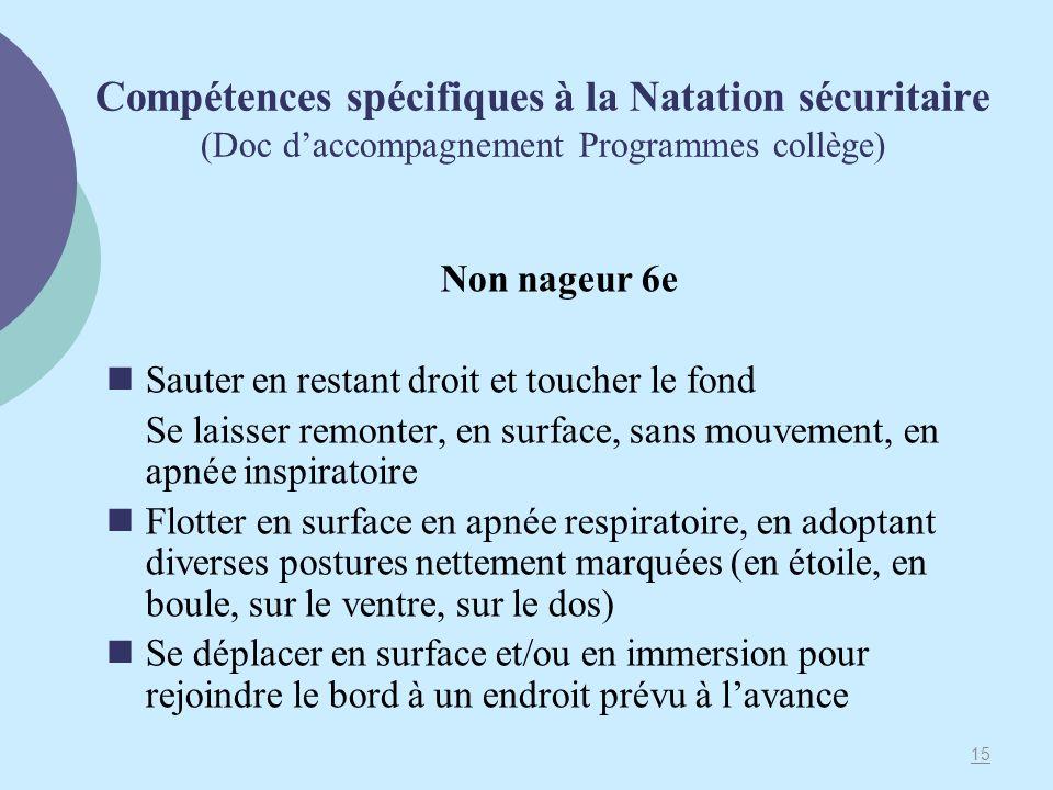 Compétences spécifiques à la Natation sécuritaire (Doc d'accompagnement Programmes collège)