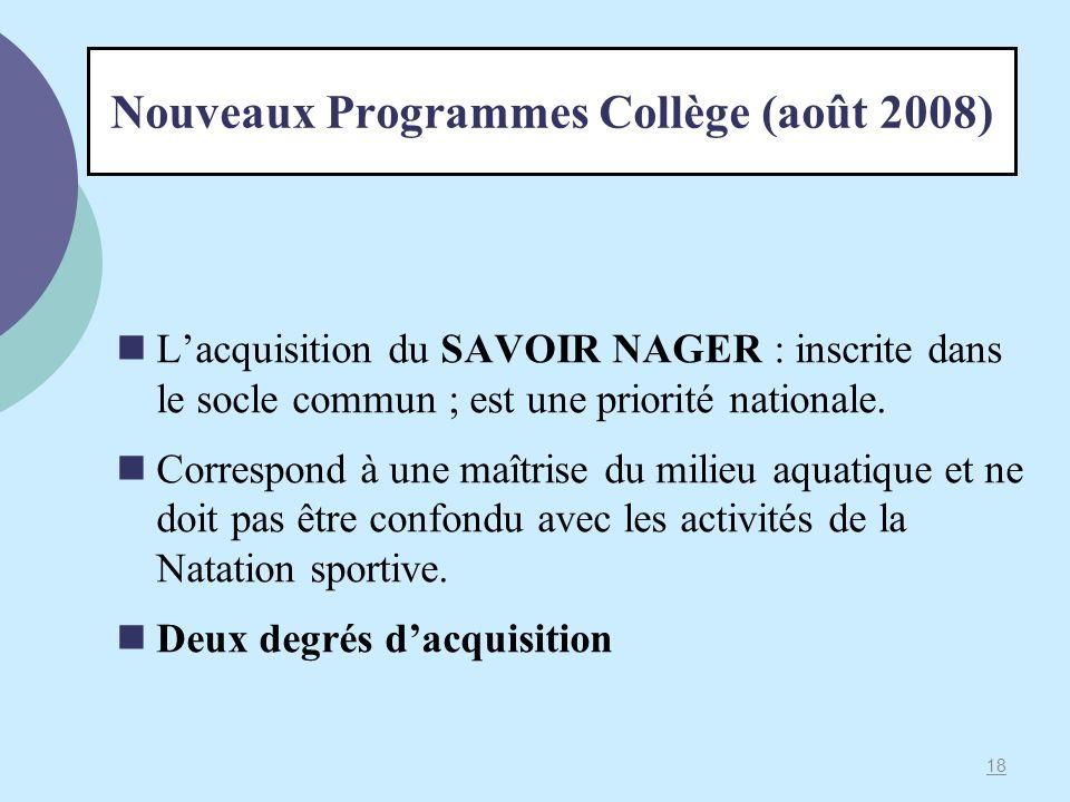 Nouveaux Programmes Collège (août 2008)