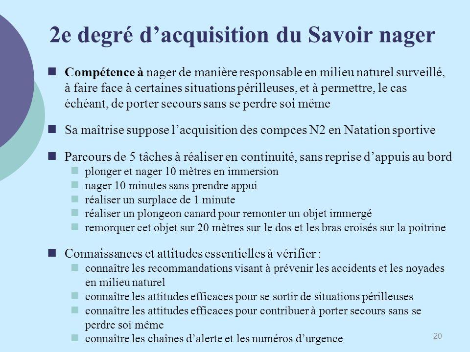 2e degré d'acquisition du Savoir nager