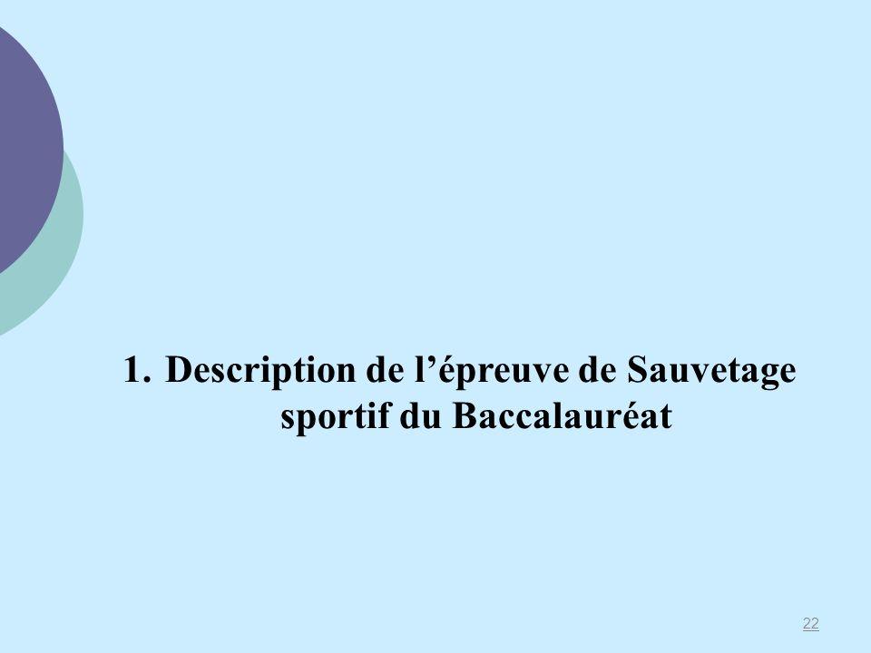 Description de l'épreuve de Sauvetage sportif du Baccalauréat
