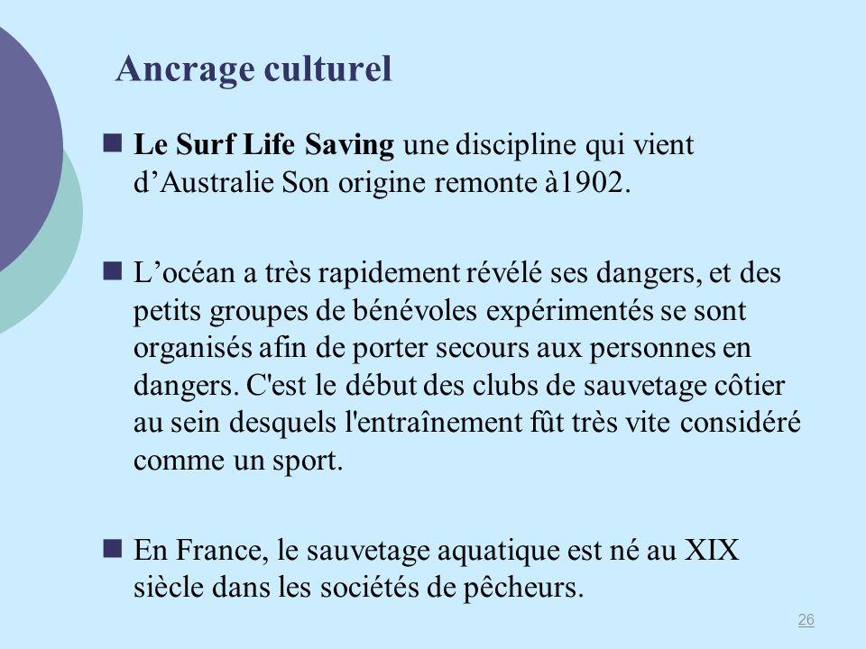 Ancrage culturel Le Surf Life Saving une discipline qui vient d'Australie Son origine remonte à1902.