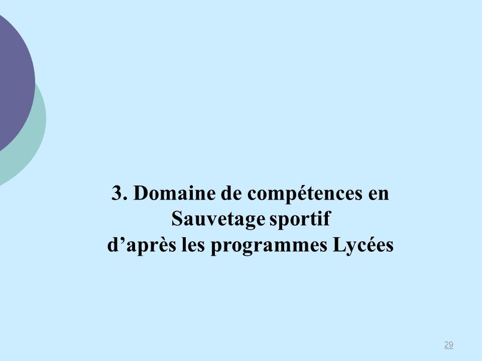 3. Domaine de compétences en Sauvetage sportif