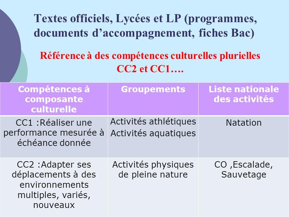 Textes officiels, Lycées et LP (programmes, documents d'accompagnement, fiches Bac)