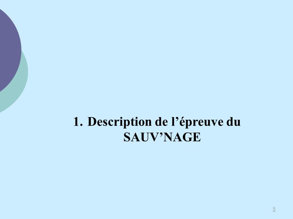 Description de l'épreuve du SAUV'NAGE
