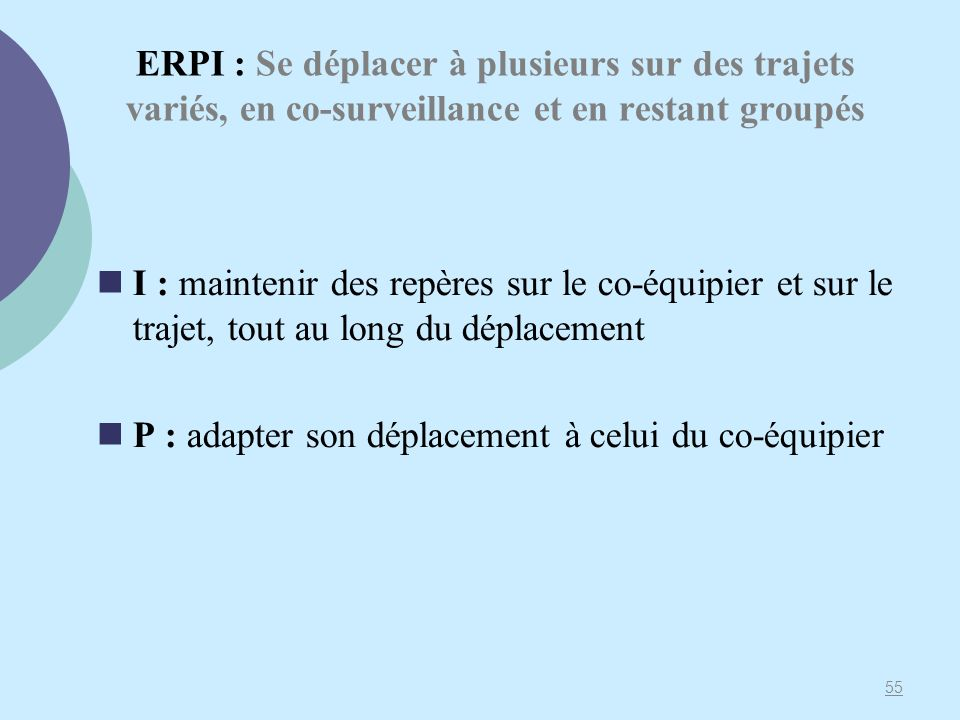 ERPI : Se déplacer à plusieurs sur des trajets variés, en co-surveillance et en restant groupés
