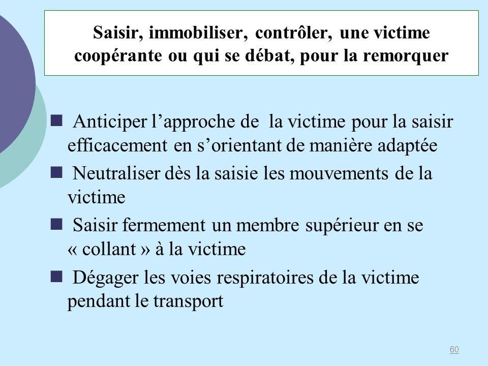 Neutraliser dès la saisie les mouvements de la victime