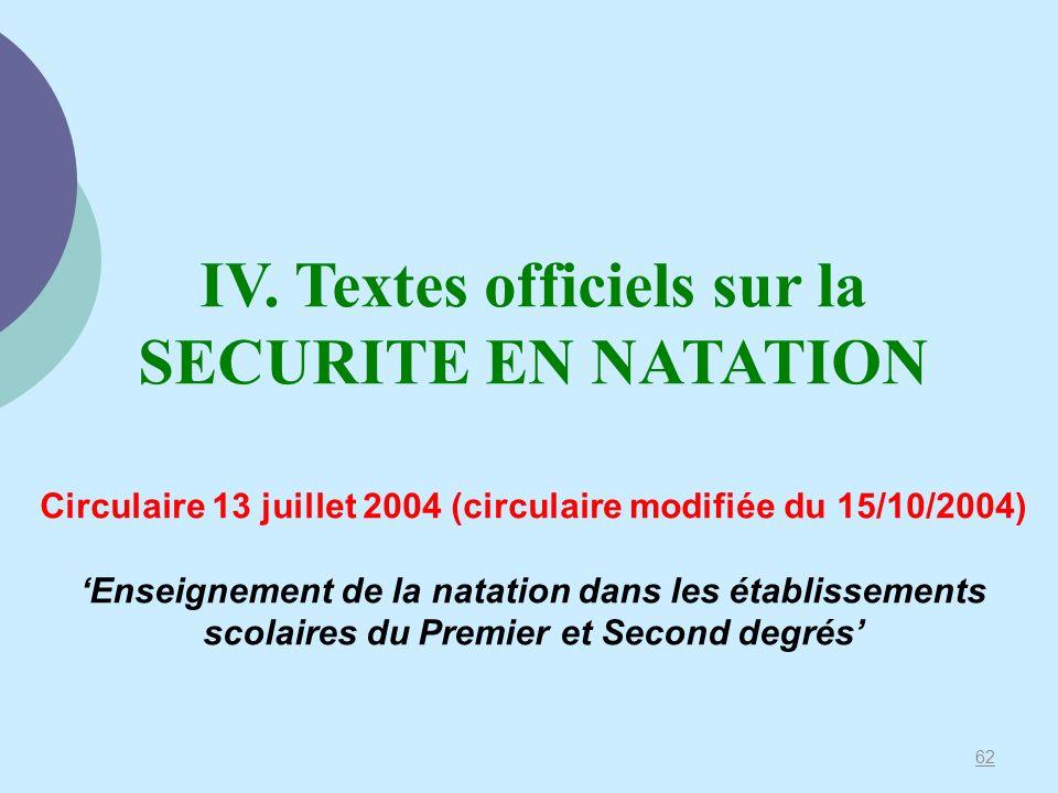 IV. Textes officiels sur la SECURITE EN NATATION