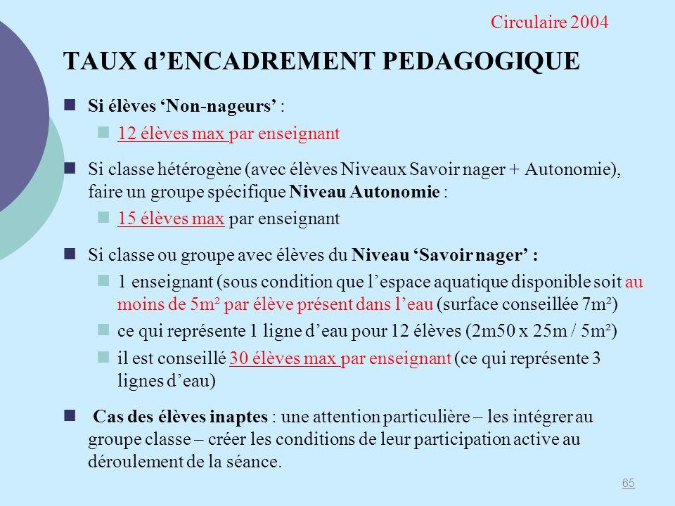TAUX d'ENCADREMENT PEDAGOGIQUE