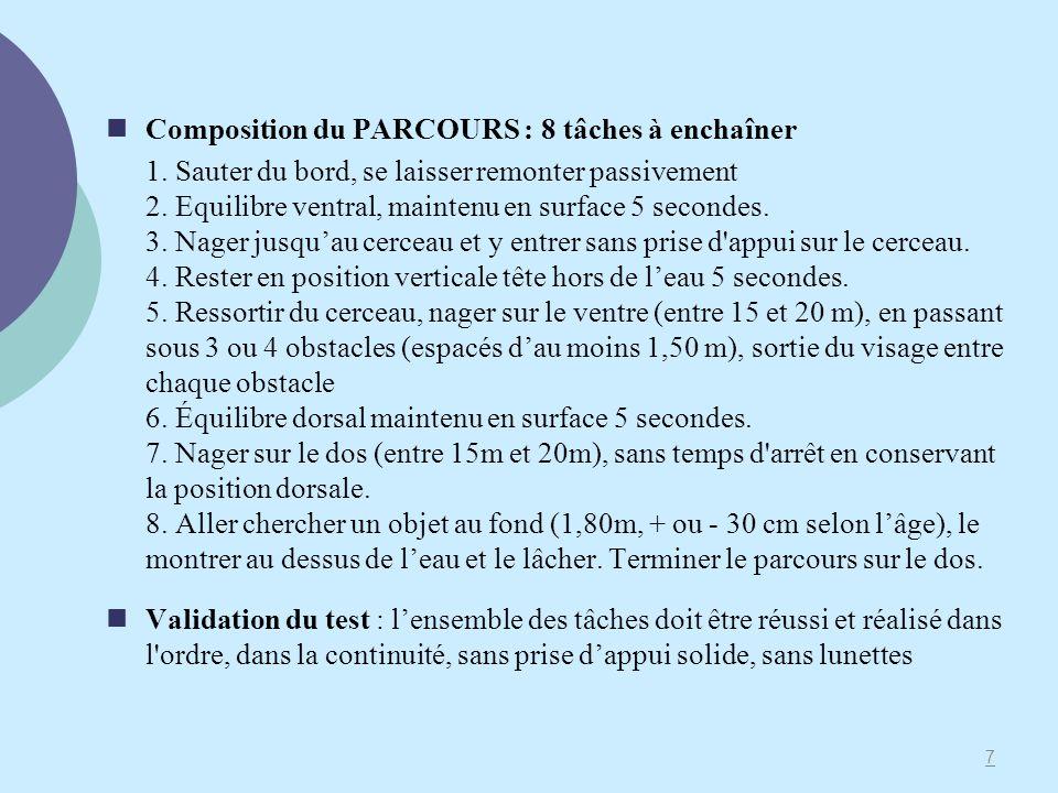 Composition du PARCOURS : 8 tâches à enchaîner