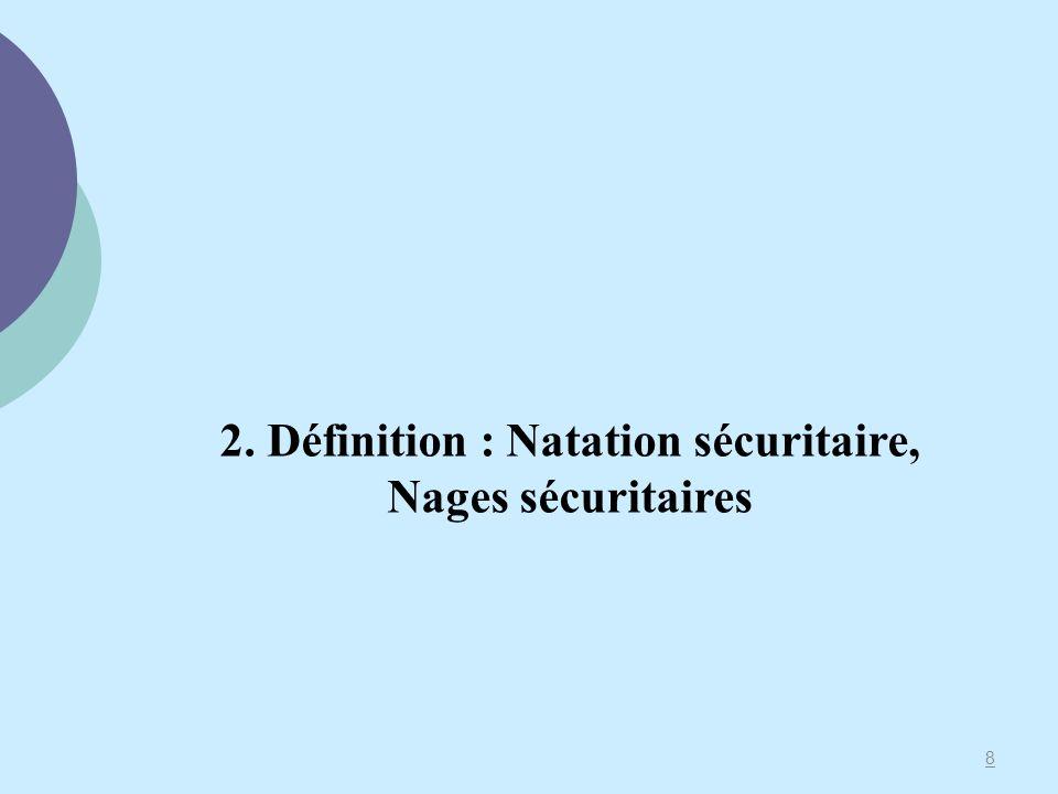 2. Définition : Natation sécuritaire, Nages sécuritaires