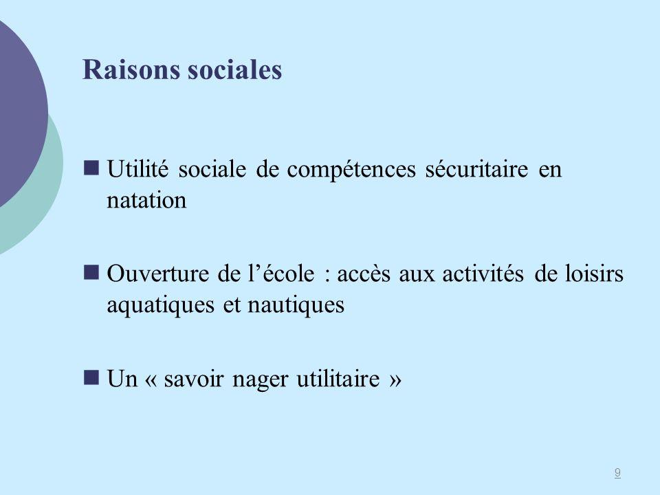 Raisons sociales Utilité sociale de compétences sécuritaire en natation.
