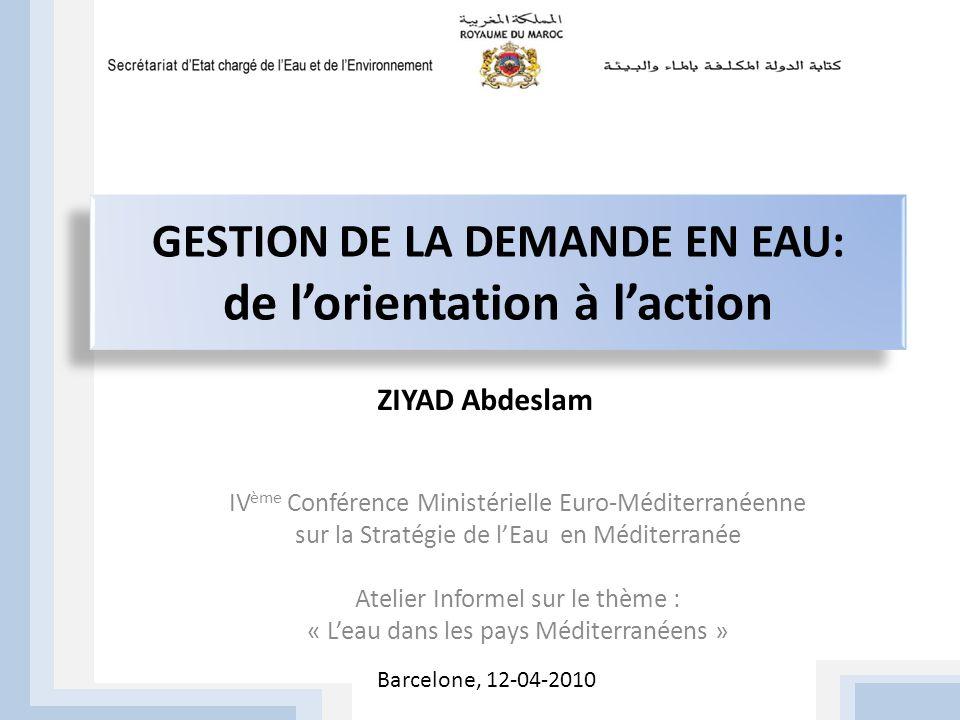 GESTION DE LA DEMANDE EN EAU: de l'orientation à l'action