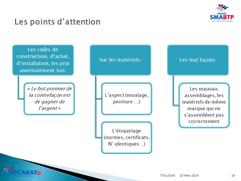 Les points d'attention