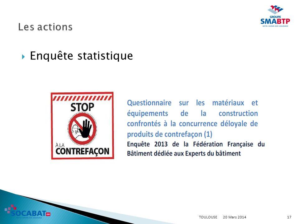 Les actions Enquête statistique TOULOUSE 20 Mars 2014