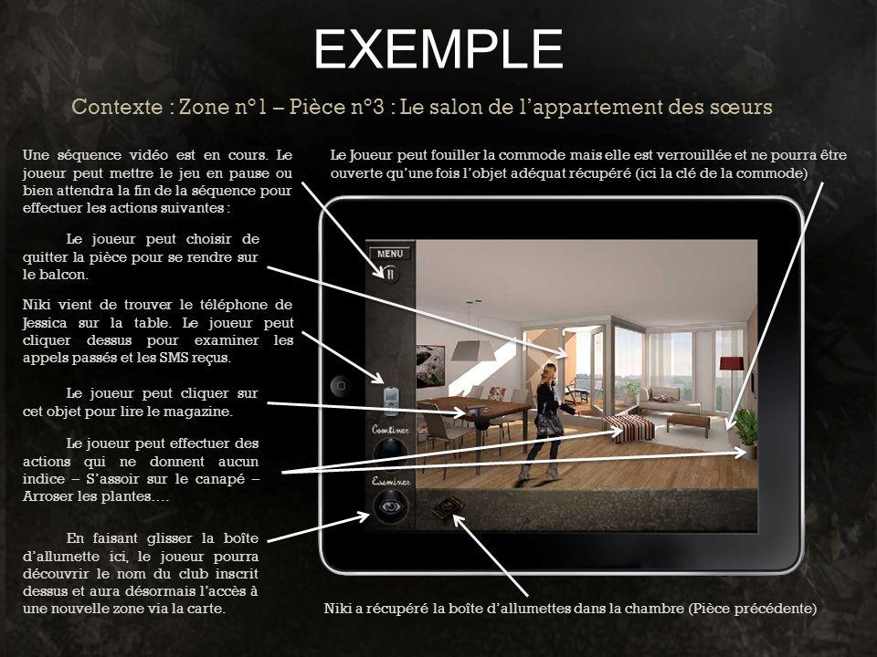 EXEMPLE Contexte : Zone n°1 – Pièce n°3 : Le salon de l'appartement des sœurs.