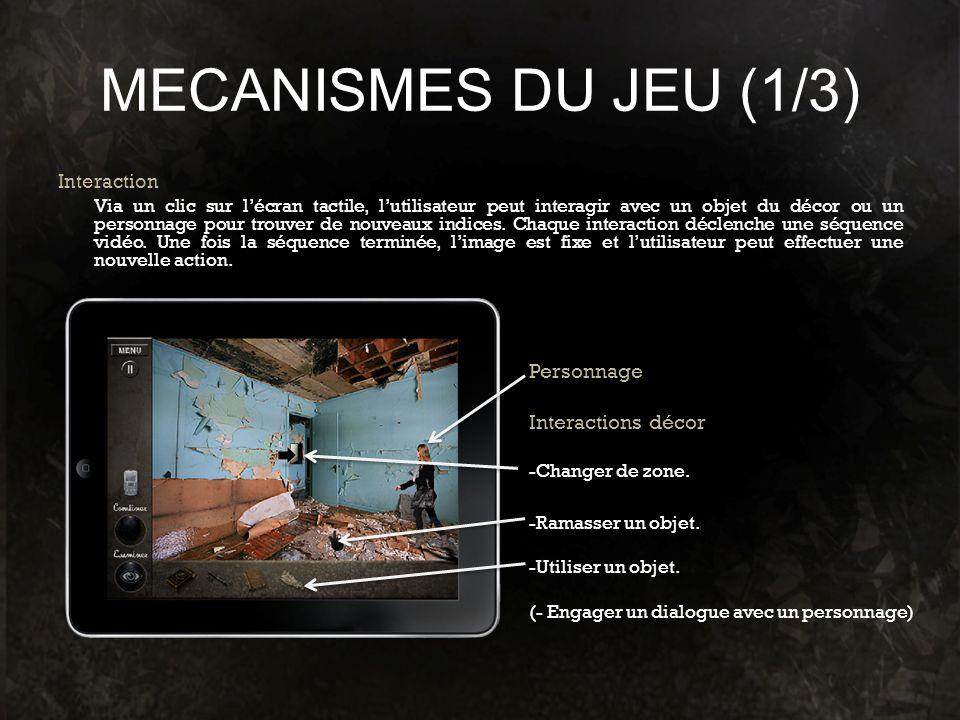 MECANISMES DU JEU (1/3) Personnage Interactions décor