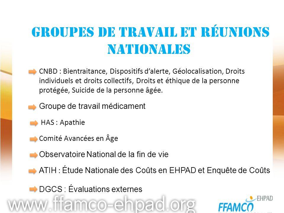 groupes de travail et réunions nationales