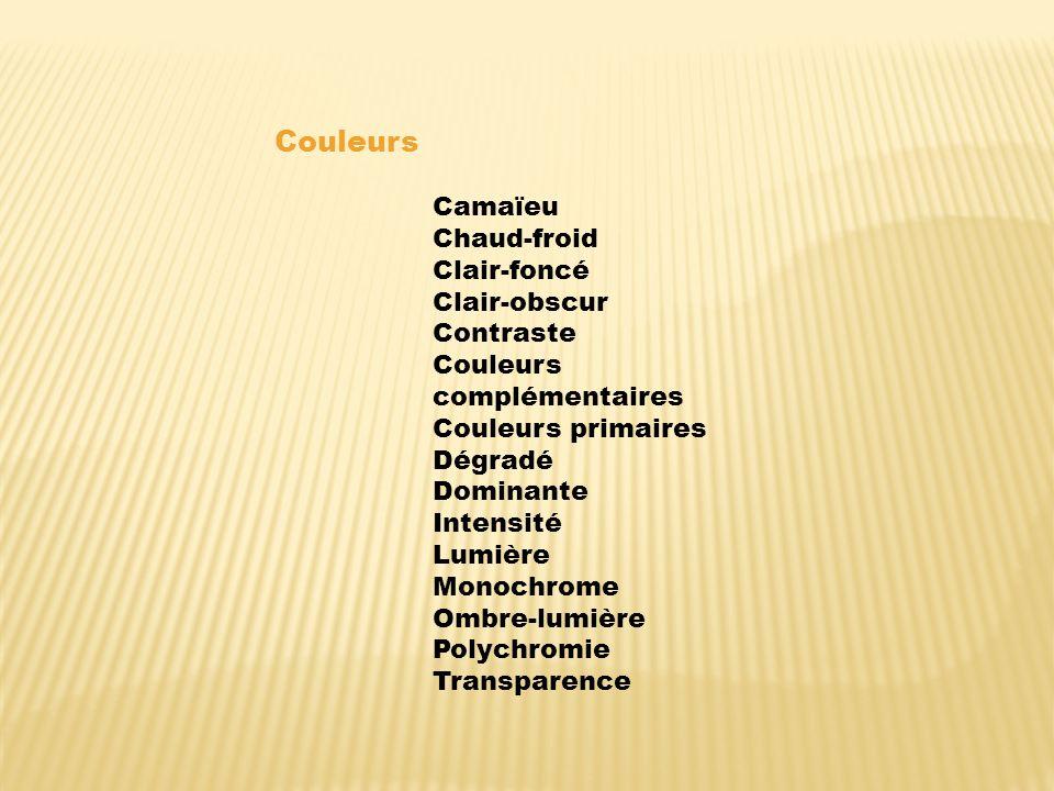 Couleurs Camaïeu Chaud-froid Clair-foncé Clair-obscur Contraste