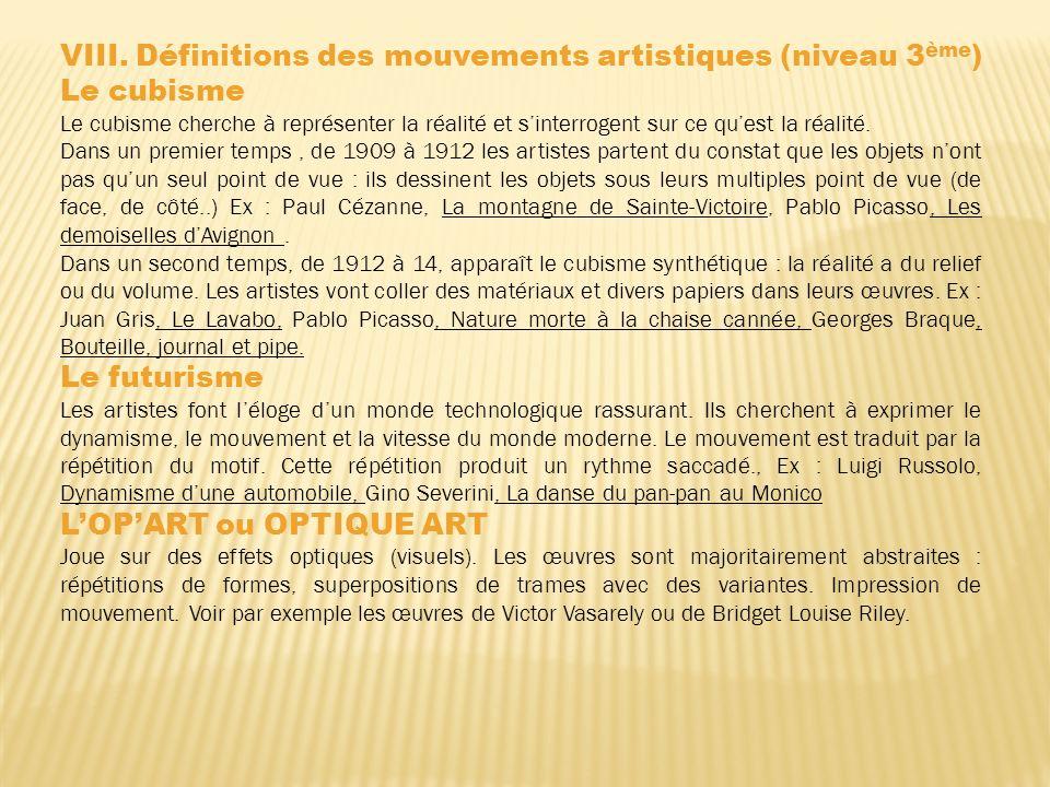 VIII. Définitions des mouvements artistiques (niveau 3ème) Le cubisme