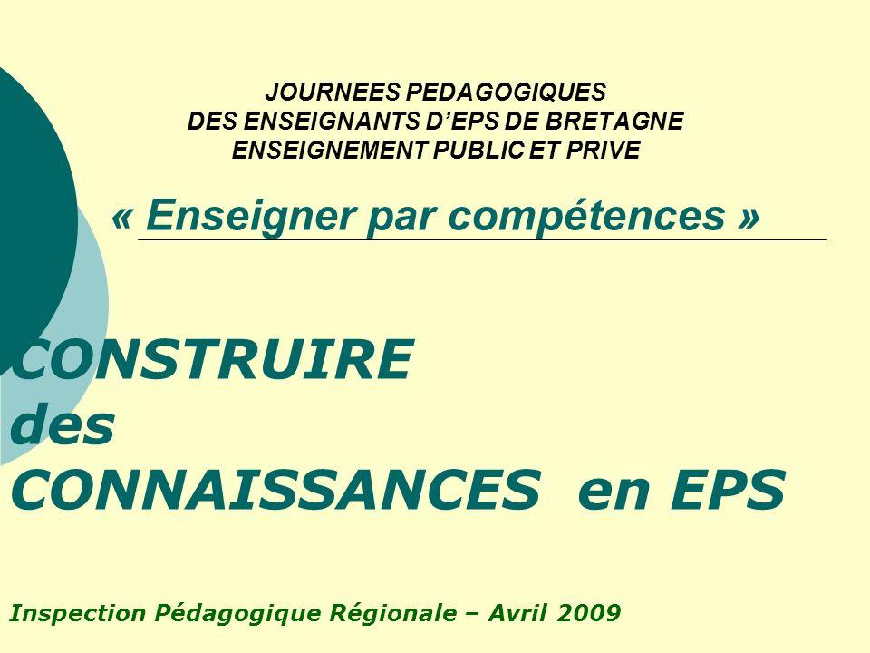 CONSTRUIRE des CONNAISSANCES en EPS