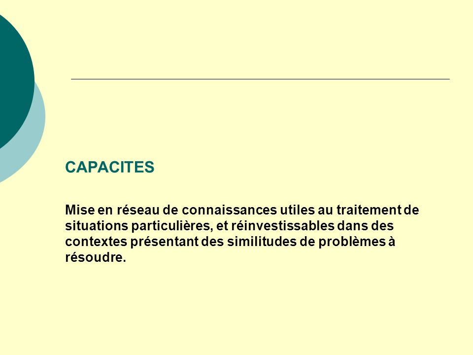 CAPACITES Mise en réseau de connaissances utiles au traitement de situations particulières, et réinvestissables dans des contextes présentant des similitudes de problèmes à résoudre.