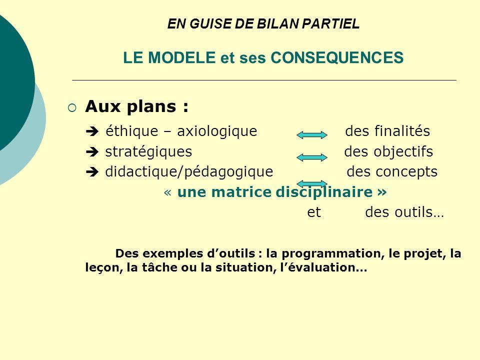EN GUISE DE BILAN PARTIEL LE MODELE et ses CONSEQUENCES