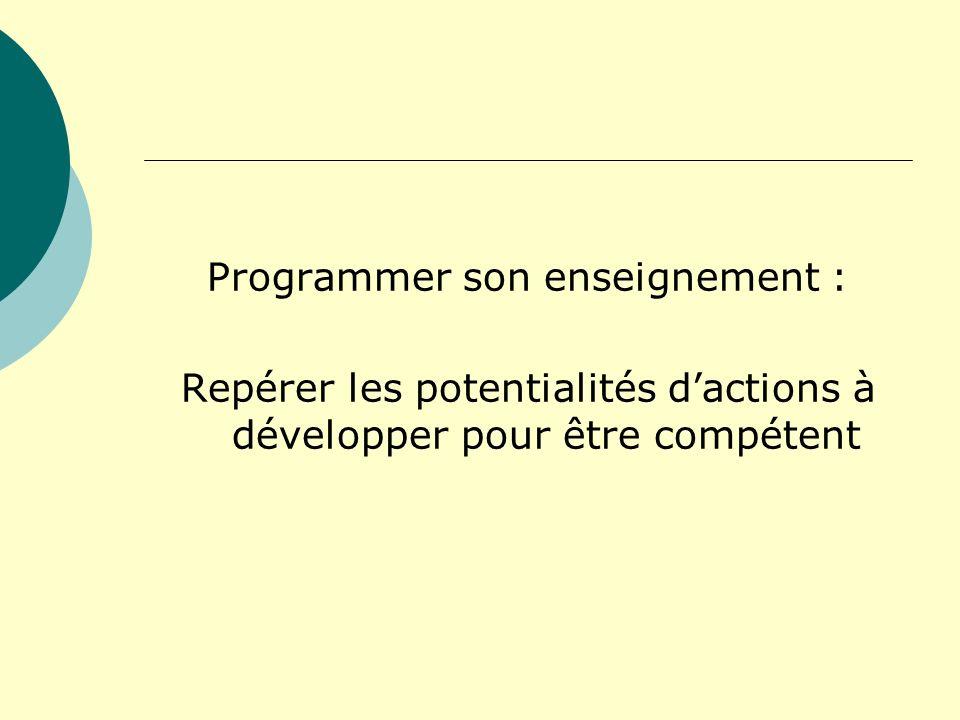 Programmer son enseignement :