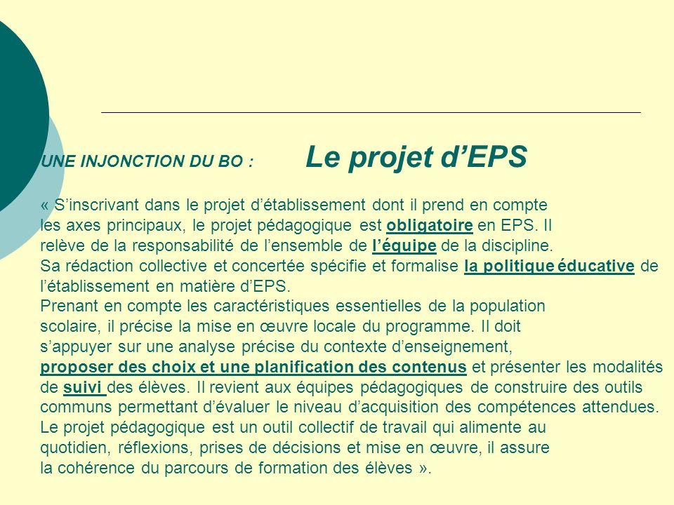 UNE INJONCTION DU BO : Le projet d'EPS « S'inscrivant dans le projet d'établissement dont il prend en compte les axes principaux, le projet pédagogique est obligatoire en EPS.